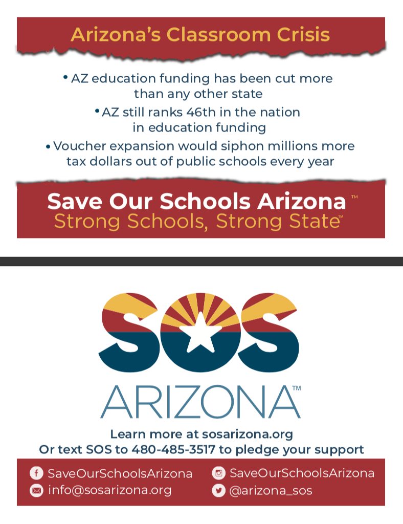 AZ education funding has been cut more than any other state. AZ still ranks 46th in the nation in education funding. Voucher expansion would siphon millions more tax dollars out of public schools every year.Learn more at sosarizona.org Or text SOS to 480-485-3517 to pledge your support