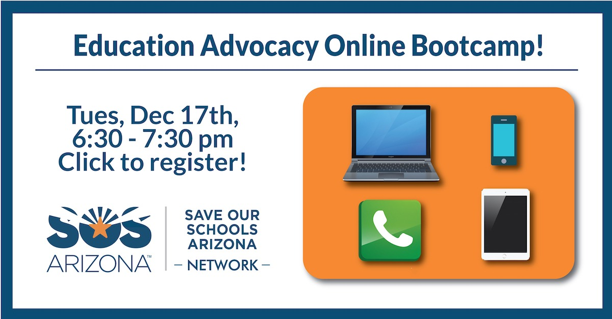 Education Advocacy Online Bootcamp, Tues, Dec 17, 6:30-7:30pm