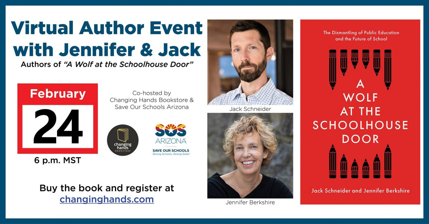 "Virtual Author Event with Jennifer & Jack, authors of ""A Wolf at the Schoolhouse Door"" Co hosted by Changing Hands and SOS Arizona Buy the book and register at: changing hands.com"