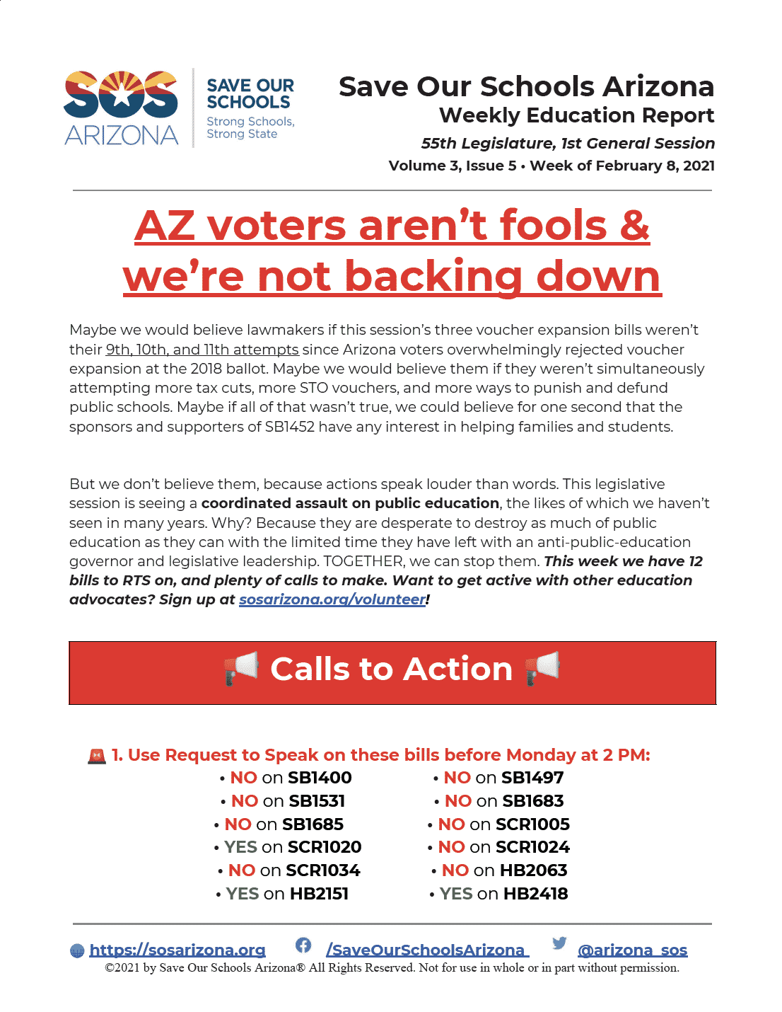 Save Our Schools Arizona Legislative Weekly, Week of Feb 8