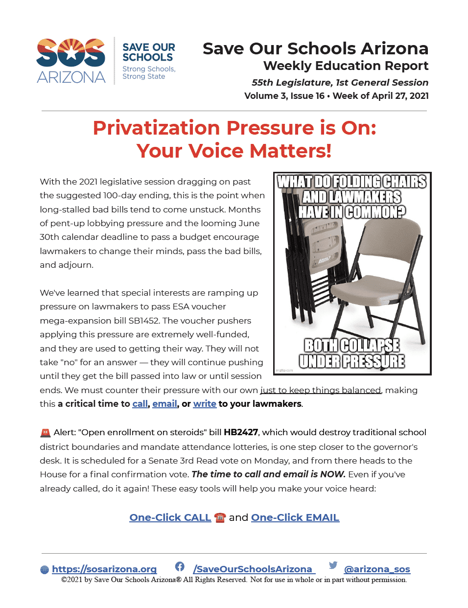 Weekly Education Report 4/27/21 Privatization Pressure is On: Your Voice Matters!