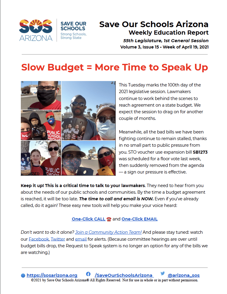 4/19/21 - Slow Budget = More Time to Speak Up