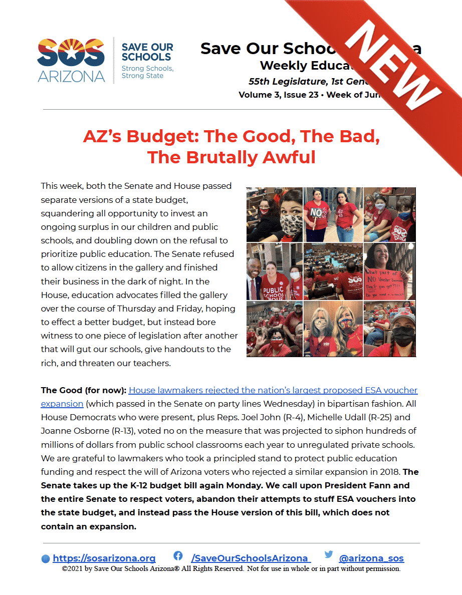 6/28/21 AZ's Budget: The Good, The Bad, The Brutally Awful